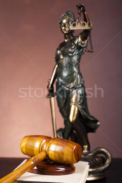 Stockfoto: Schalen · justitie · recht · studio · vrouw · hemel