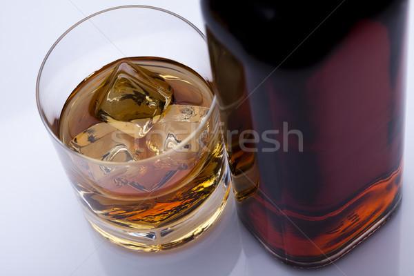 Whiskey üveg üveg tükröződés whisky három Stock fotó © JanPietruszka