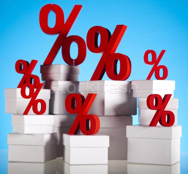 Rouge pourcentage symbole affaires signe banque Photo stock © JanPietruszka