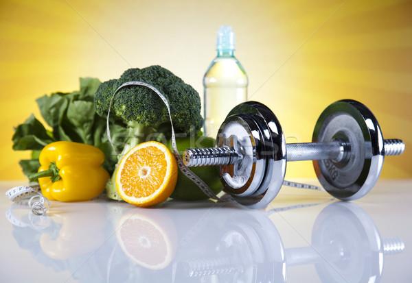 Foto stock: Comida · fita · métrica · fitness · pôr · do · sol · sol · fruto