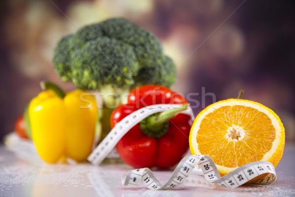 Stockfoto: Vers · voedsel · maatregel · dieet · voedsel · fitness · vruchten