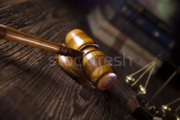 Törvény bíró fából készült kalapács ügyvéd bíróság Stock fotó © JanPietruszka