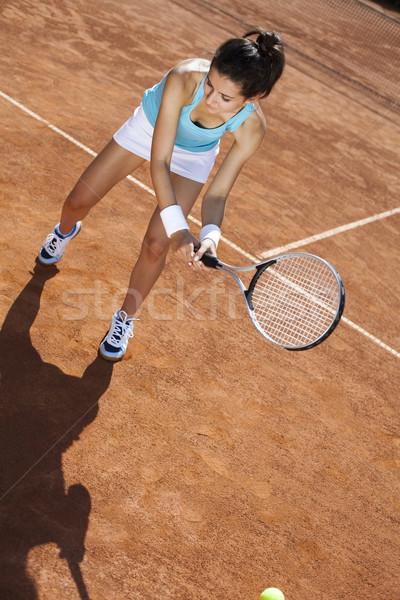 Foto stock: Menina · jogar · quadra · de · tênis · mulher · vida · jovem