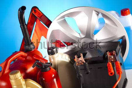 Set of auto parts, car battery on vivid moto concept Stock photo © JanPietruszka