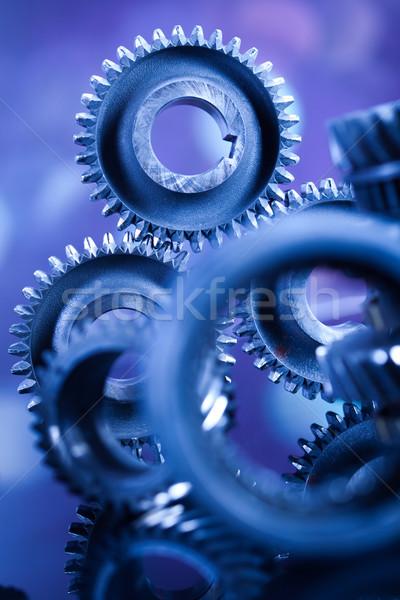 Closeup of gears, industrial mechanism, technic concept Stock photo © JanPietruszka