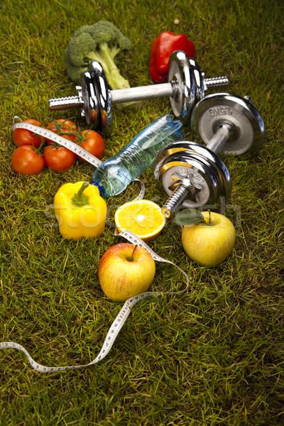 Foto stock: Vitamina · fitness · dieta · grama · verde · saúde · exercer