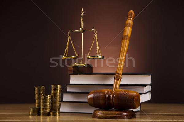 裁判官 小槌 木材 法 ハンマー 白 ストックフォト © JanPietruszka