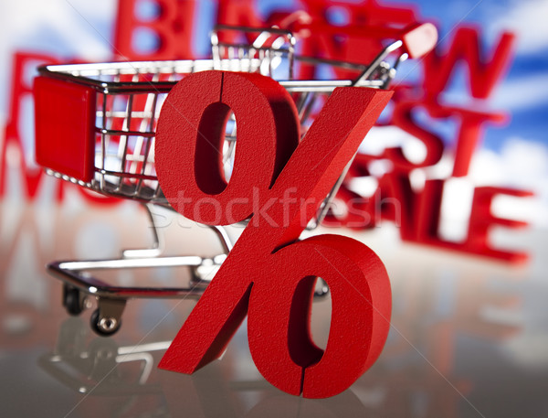 Winkelen supermarkt winkelwagen procent teken business Stockfoto © JanPietruszka