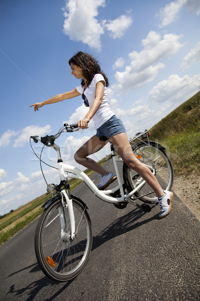 Woman bike, summer free time spending Stock photo © JanPietruszka