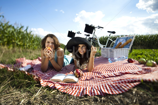 Girls, summer free time spending Stock photo © JanPietruszka