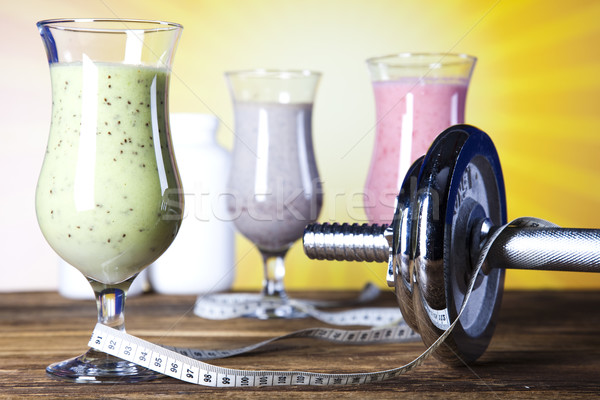Milk shakes, sport and fitness Stock photo © JanPietruszka