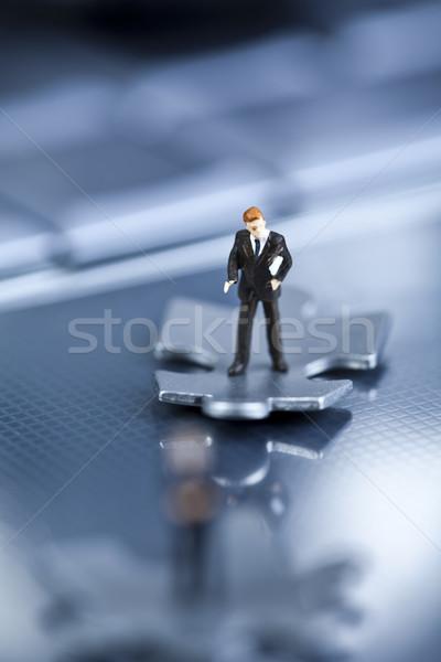 Imprenditore moderno rete simboli puzzle corporate Foto d'archivio © JanPietruszka