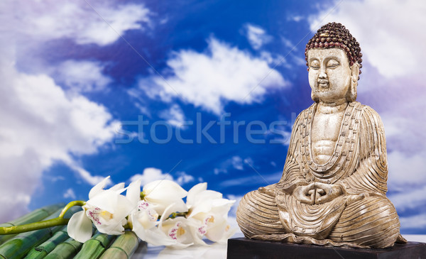Buddha ciel soleil fumée détendre culte Photo stock © JanPietruszka