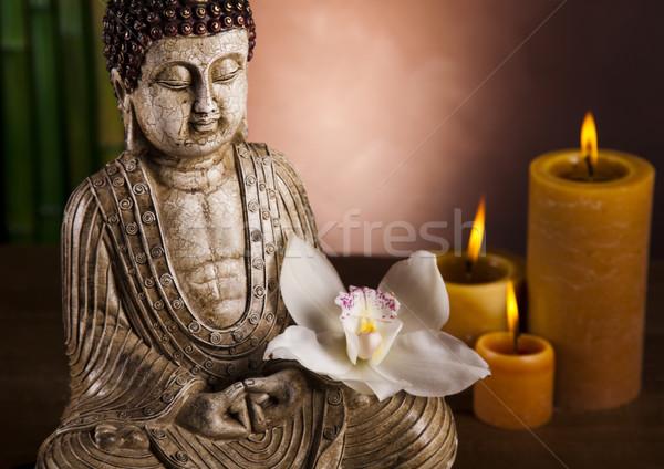 Buddha gyertya nap füst pihen istentisztelet Stock fotó © JanPietruszka