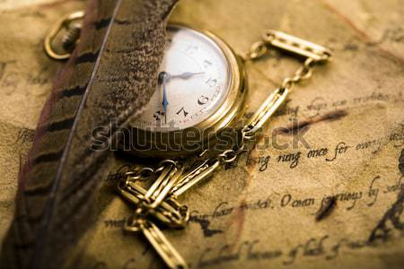 Close up view of the compass on old map Stock photo © JanPietruszka
