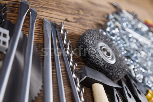 Working tools on wooden background Stock photo © JanPietruszka