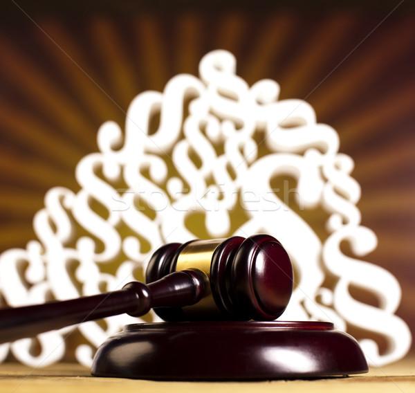Paragraph, law theme, mallet of judge, wooden gavel Stock photo © JanPietruszka