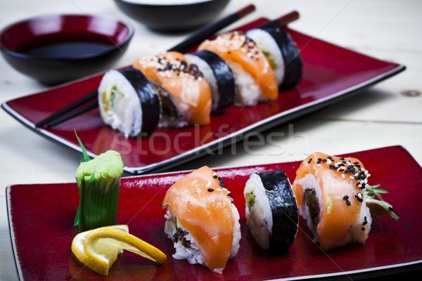 Sushi renkli balık tablo bambu Stok fotoğraf © JanPietruszka