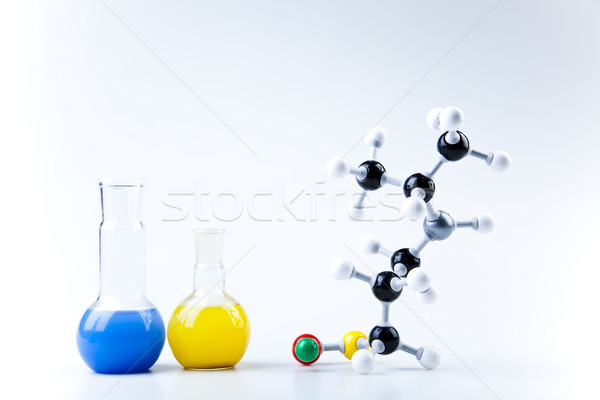 Atom, Molecules model, Laboratory glassware Stock photo © JanPietruszka