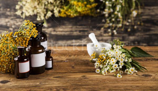 Alternatieve geneeskunde natuurlijke remedie houten bureau Stockfoto © JanPietruszka
