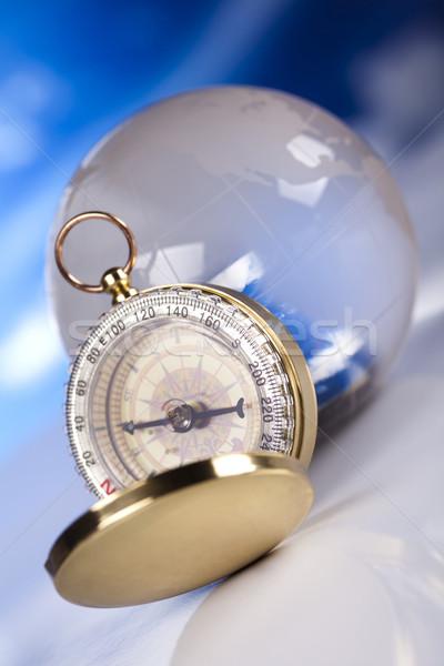 Kompas wereldbol zee aarde reizen afrika Stockfoto © JanPietruszka