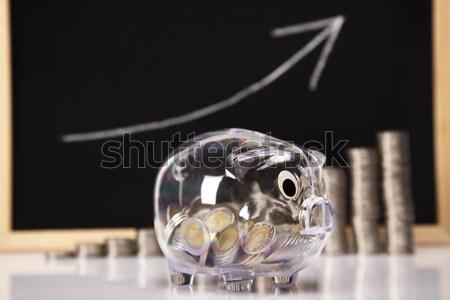 ストックフォト: 貯金 · コイン · 図 · ボックス · 金融 · 豚