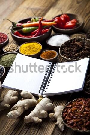 Yemek kitabı baharatlar mutfak canlı kırmızı Stok fotoğraf © JanPietruszka