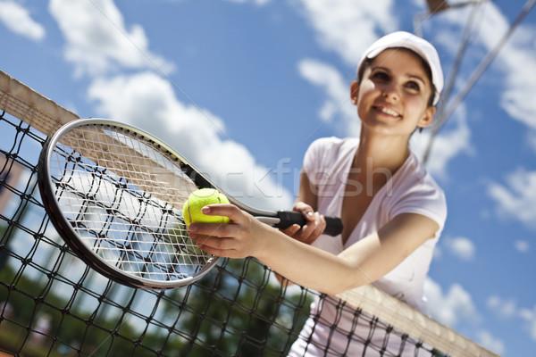 Teniszező természetes színes nő jókedv fiatal Stock fotó © JanPietruszka