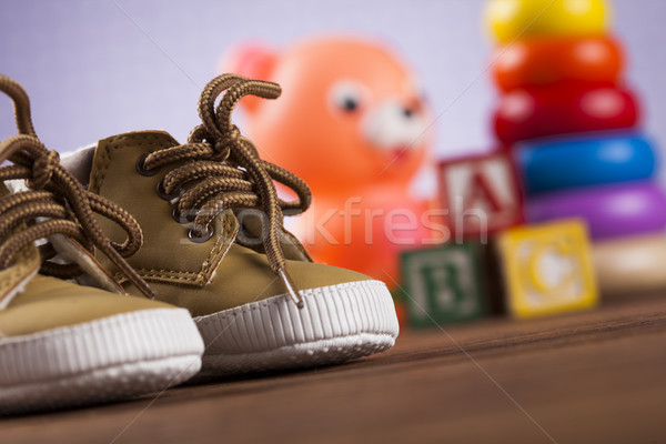 Stuffed baby toys on wooden background Stock photo © JanPietruszka