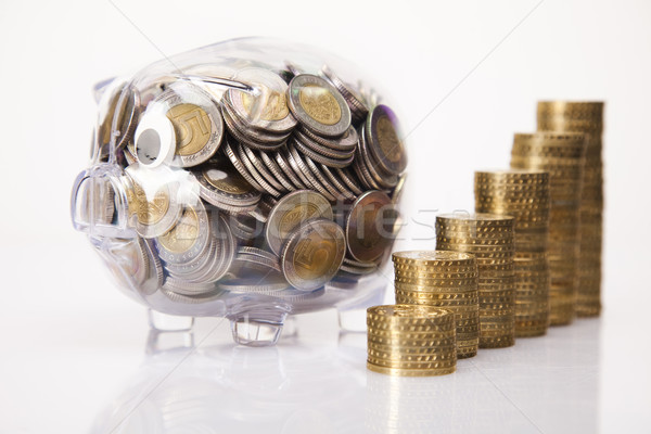 Pig bank and money coin Stock photo © JanPietruszka