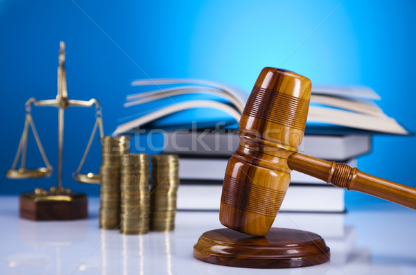 Stock photo: Law theme, mallet of judge, wooden gavel