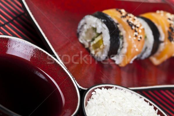 Sushi gustoso tradizionale cibo giapponese pesce mare Foto d'archivio © JanPietruszka