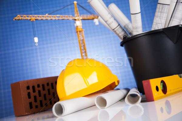 строительная площадка крана чертежи зданий строительство бизнеса Сток-фото © JanPietruszka