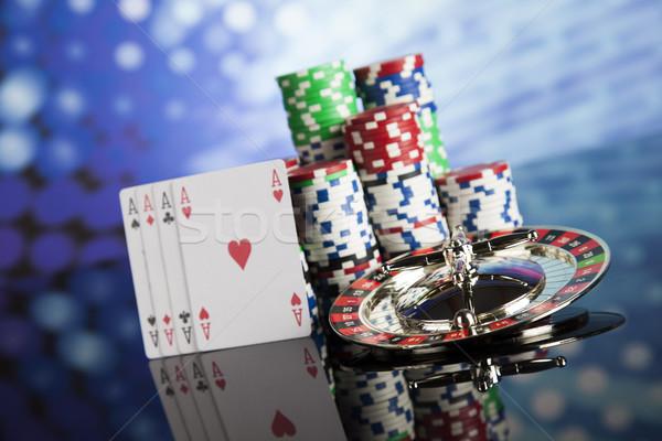 Casino Roulette spielen Chips Spaß schwarz Stock foto © JanPietruszka