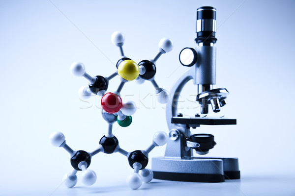 Atom, Chemistry formula background, bright modern chemical concept Stock photo © JanPietruszka