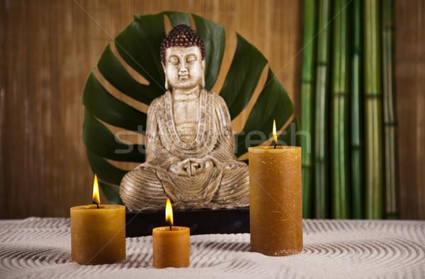 Buddha statue and bamboo Stock photo © JanPietruszka