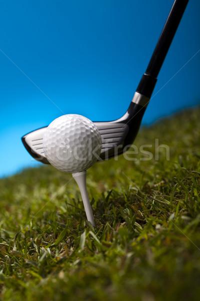 мяч для гольфа зеленая трава синий закат газона жизни Сток-фото © JanPietruszka