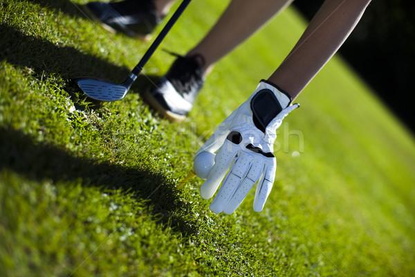 Сток-фото: женщину · играет · гольф · области · ярко · красочный