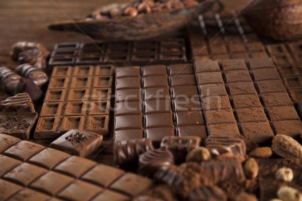 Stockfoto: Donkere · eigengemaakt · chocolade · bars · peul · houten