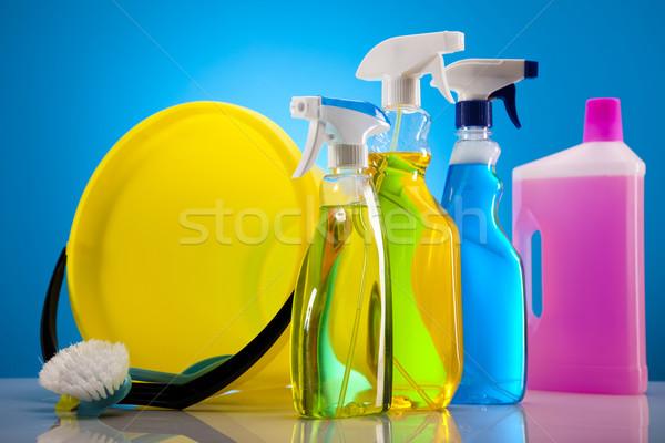 набор чистящие средства работу домой бутылку красный Сток-фото © JanPietruszka