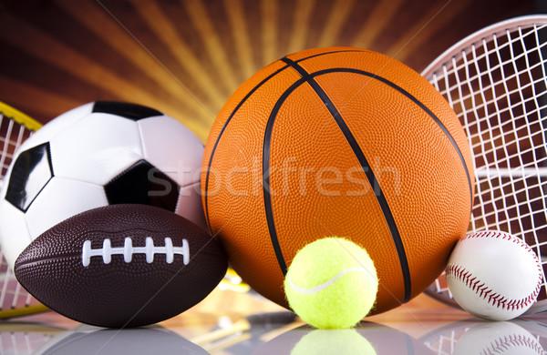 Spor malzemeleri güneş futbol spor tenis beysbol Stok fotoğraf © JanPietruszka