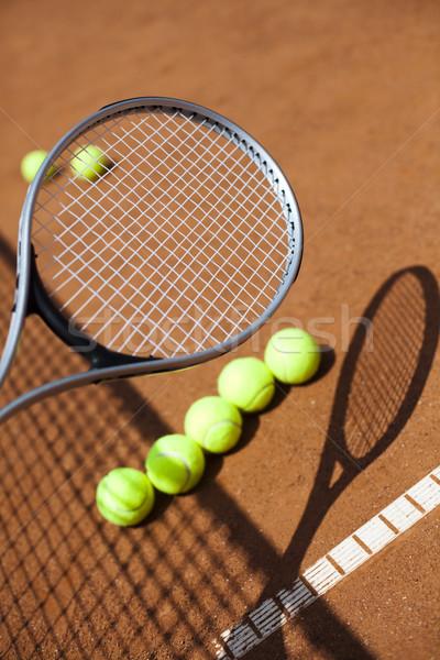 Теннисная ракетка суд фон спортивных земле Сток-фото © JanPietruszka