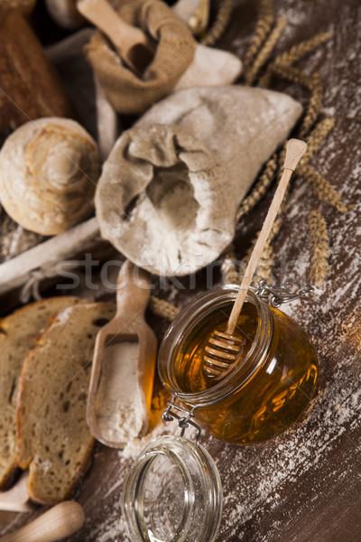Freshly baked bread on the wooden Stock photo © JanPietruszka