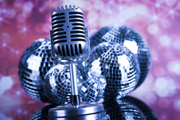 Retro style microphone on sound waves and Disco Balls  Stock photo © JanPietruszka
