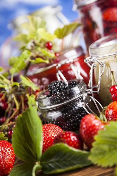 Fruit jamand, Set of glass jars Stock photo © JanPietruszka