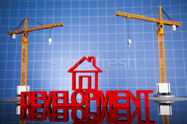 Maison modèle grue blueprints affaires Photo stock © JanPietruszka