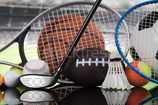 Grupy sprzęt sportowy lata pomarańczowy tenis baseball Zdjęcia stock © JanPietruszka