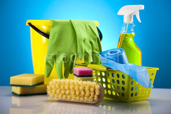 Takarítószerek munka otthon üveg piros szolgáltatás Stock fotó © JanPietruszka