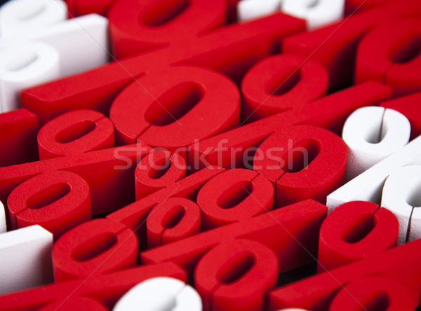 Photo stock: Pourcentage · réduction · coloré · signe · rouge · Finance