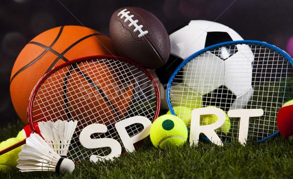 Sportartikelen gras natuurlijke kleurrijk sport voetbal Stockfoto © JanPietruszka